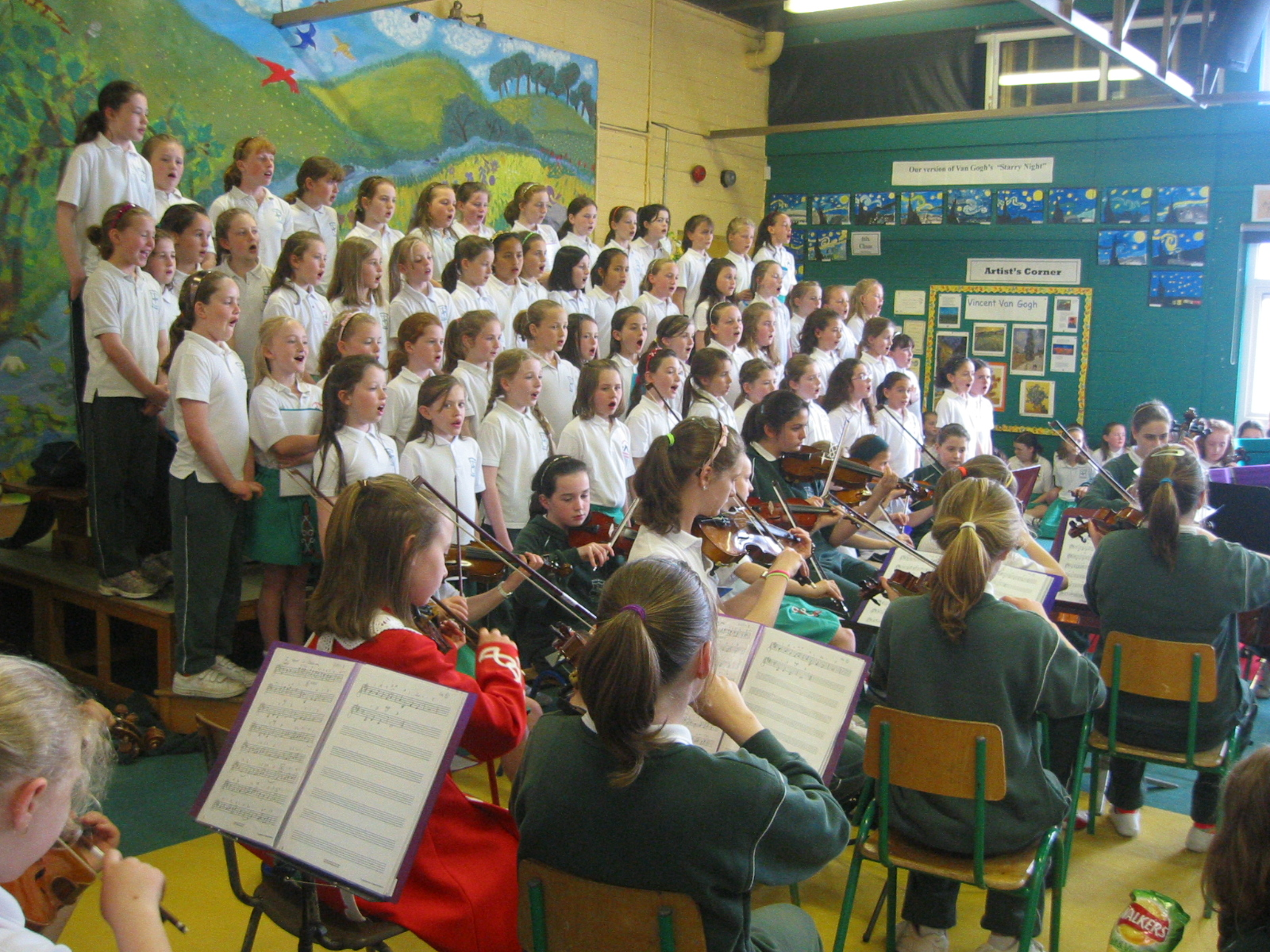 Choir and orchestra perform together