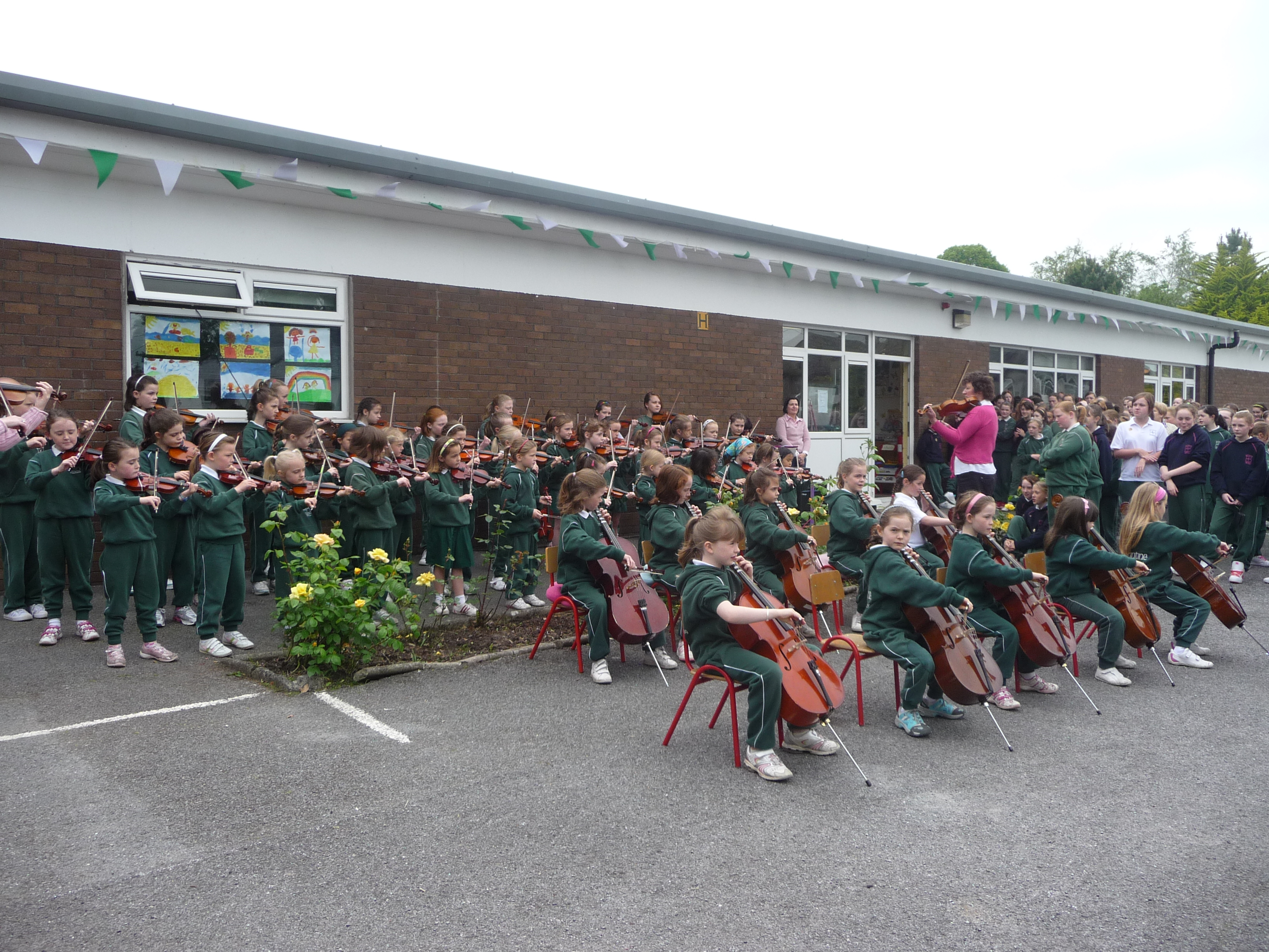 Orchestra performing outside
